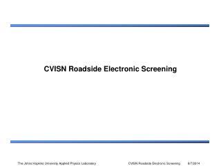 CVISN Roadside Electronic Screening