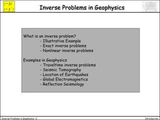 Inverse Problems in Geophysics