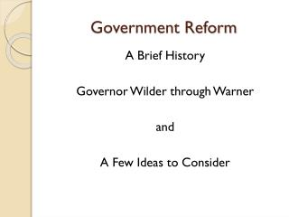 Government Reform