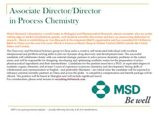 Associate Director/Director in Process Chemistry