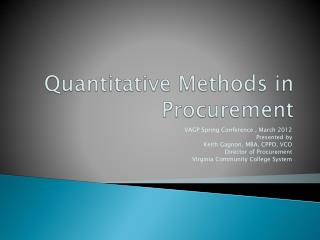 Quantitative Methods in Procurement