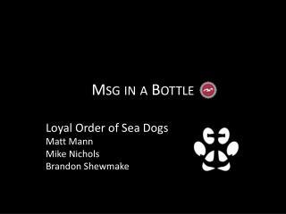 Msg in a Bottle