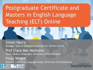Postgraduate Certificate and Masters in English Language Teaching ELT Online