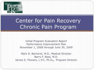Center for Pain Recovery Chronic Pain Program