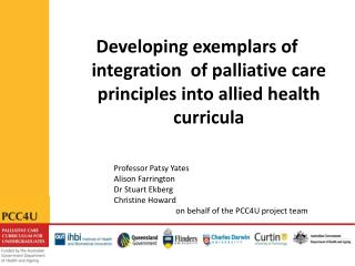 Developing exemplars of integration  of palliative care principles into allied health curricula