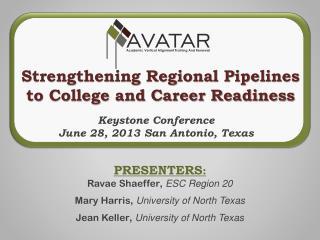PRESENTERS :  Ravae Shaeffer ,  ESC Region 20 Mary Harris ,  University of North Texas