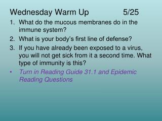 Wednesday Warm Up 5/25