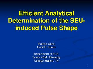Efficient Analytical Determination of the SEU-induced Pulse Shape