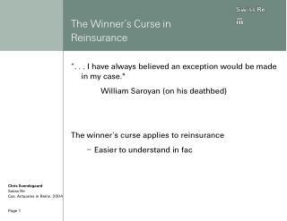 The Winner's Curse in Reinsurance