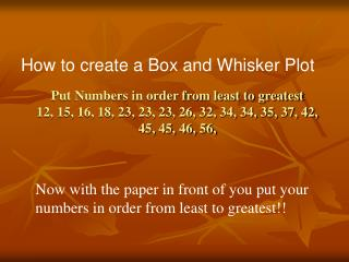 How to create a Box and Whisker Plot