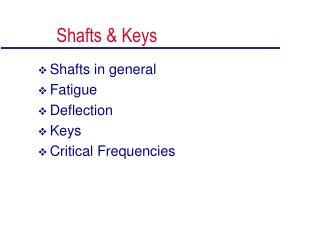 Shafts & Keys