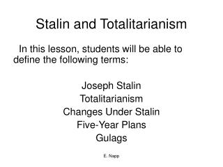 Stalin and Totalitarianism