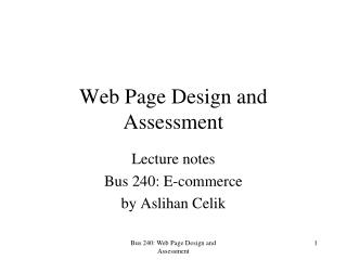Web Page Design and Assessment