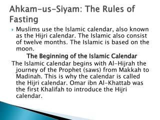 Ahkam -us- Siyam : The Rules of Fasting