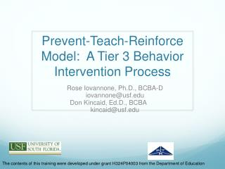 Prevent-Teach-Reinforce Model:  A Tier 3 Behavior Intervention Process