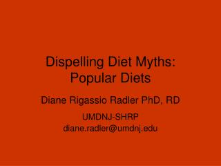 Dispelling Diet Myths: Popular Diets