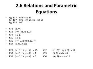 2.6 Relations and Parametric Equations