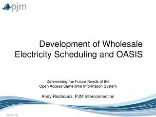 Development of Wholesale Electricity Scheduling and OASIS