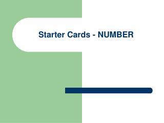 Starter Cards - NUMBER