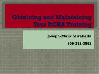Obtaining and Maintaining Your RCRA Training