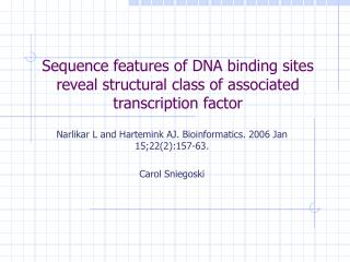 Sequence features of DNA binding sites reveal structural class of associated transcription factor