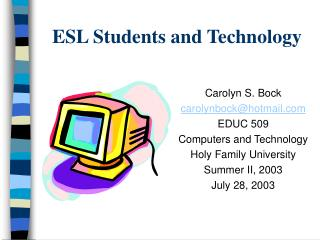 ESL Students and Technology