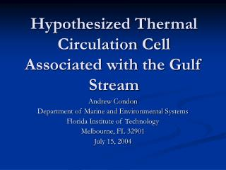 Hypothesized Thermal Circulation Cell Associated with the Gulf Stream