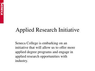 Applied Research Initiative