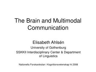 The Brain and Multimodal Communication