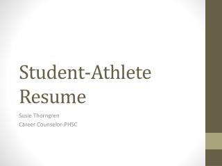 Student-Athlete Resume