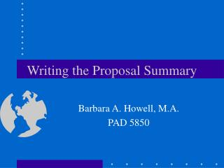 Writing the Proposal Summary