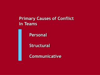 Primary Causes of Conflict  In Teams
