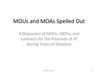 MOUs and MOAs Spelled Out