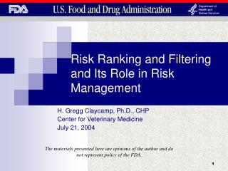 Risk Ranking and Filtering and Its Role in Risk Management