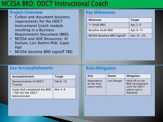 MCESA BRD: ODCT Instructional  Coach