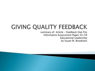 All suggestions for delivery of effective feedback are based on knowing your students well.