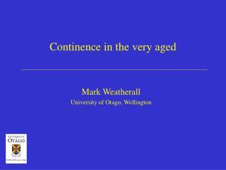 Continence in the very aged
