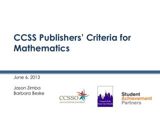 CCSS Publishers' Criteria for Mathematics