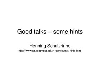 Good talks – some hints