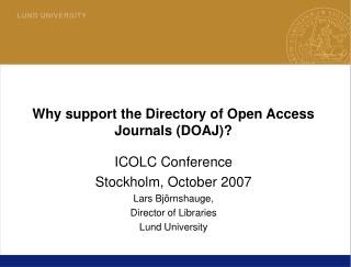 Why support the Directory of Open Access Journals (DOAJ)?