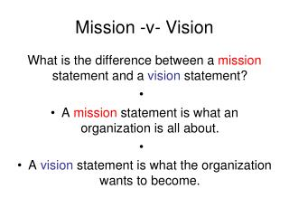 Mission -v- Vision