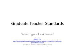 Graduate  T eacher Standards