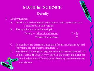 MATH for SCIENCE Density