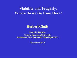 Stability and Fragility:  Where do we Go from Here?