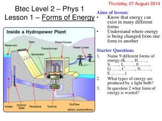 Btec Level 2 – Phys 1 Lesson 1 –  Forms of Energy