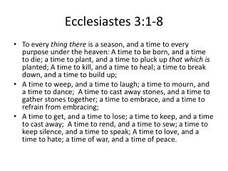 Ecclesiastes 3:1-8