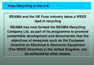 Fuse Recycling in the U.K.