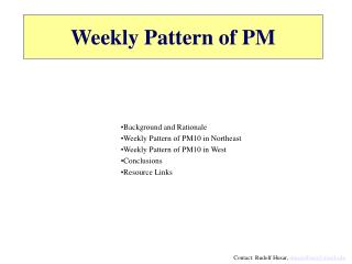 Weekly Pattern of PM