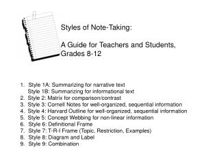 Styles of Note-Taking: A Guide for Teachers and Students, Grades 8-12