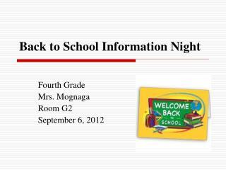 Back to School Information Night